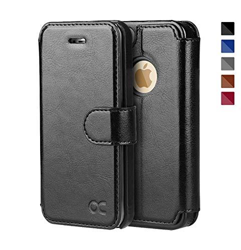 OCASE iPhone 5 Hülle Premium Leder Tasche Handyhülle Flip Case Cover Schutzhülle Brieftasche Hülle für Apple iPhone 5S SE 5 Geräte Schwarz