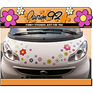 Aurum92 Funky Flower Colourful Car Stickers - Pack of 30