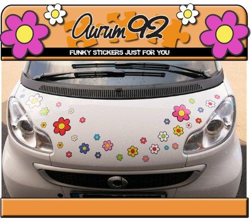 Aurum92 Pegatinas para Coche, diseño de Flores, 30 Unidades