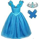 GenialES® Disfraz Vestido de Princesa con Guantes Diadema Azul Lindo Disfraz de Cumpleaños Carnaval Fiesta Cosplay Halloween para Niñas 2 a 7 años