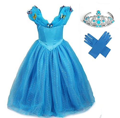 GenialES Costume Vestito Guanti Tiara Diadema Principessa Blu Carino Regalo di Compleanno Costume Carnevale Halloween Party Cosplay Ragazze 3-7 Anni