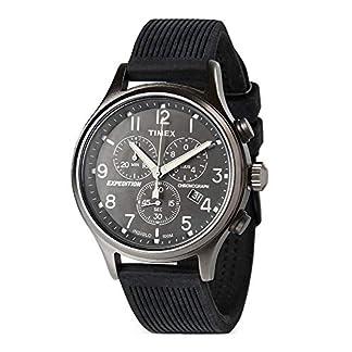 Timex T200419J – Reloj análogico de cuarzo con correa de cuero para hombre, color marrón/plata