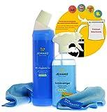 Jemako 3er Set Bad-Set - Sanitärgrundreiniger (500 ml-Flasche + Schaumpumpe) - WC-Hygiene-Gel (750 ml-Flasche) - Profituch blau (40 x 45 cm) - inkl. Sinland feinmaschiges Wäschenetz