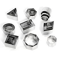Cortadores de galletas de acero inoxidable (redondo triángulo cuadrado rectangular rombos Hexagonal Oval formas) Set de 24por kaishan