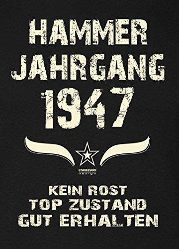 Damen Kurzarm TShirt GirlieShirt Geschenk zum 70 Geburtstag Hammer Jahrgang  1947 Geschenkidee für Frauen Sie Mama Oma schwarz01