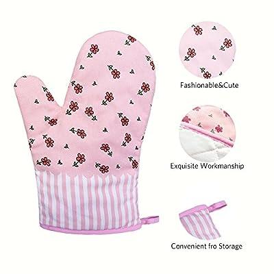 1 Paar Hitzebeständig Ofenhandschuhe Verdickte Hitzeresistente Topflappen Backhandschuhe aus Baumwolle und Polyester Blumen Rosa(1#)
