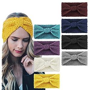Adramata 8-15 Stück Häkelarbeit Design Stirnbänder für Frauen Mädchen Kopfband Haarband elastisch Winter und Frühling