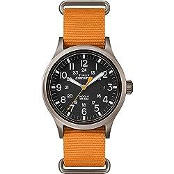 Timex Mens Scout Black Dial Orange Fabric Strap TW4B04600