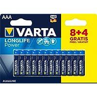 Varta 4903121472 Longlife Power (High Energy) Batteria Alcalina, Ministilo AAA LR03, Confezione da 8+4 Pile - Il design può variare, Confezione risparmio, Promozionale