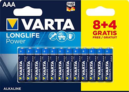 Varta - Pile Alcaline - AAA x 8 + 4 gratuites - High Energy (LR03)