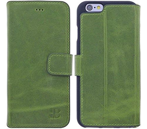 Burkley Apple iPhone 6 / iPhone 6S Hülle | Tasche | Lederhülle | Handyhülle | Ledertasche | Handytasche | Schutzhülle | Flip Cover | Book Case | bruchfester Innenschale | Kartenfach (Hellgrün) Absolut Iphone 6