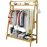 House of Quirk Bamboo Garment Coat Clothes Hanging Duty Rack with Top Shelf and Shoe Clothing Storage Organizer Shelves - (100x140cm) DIY (DO-IT-Yourself) Product.