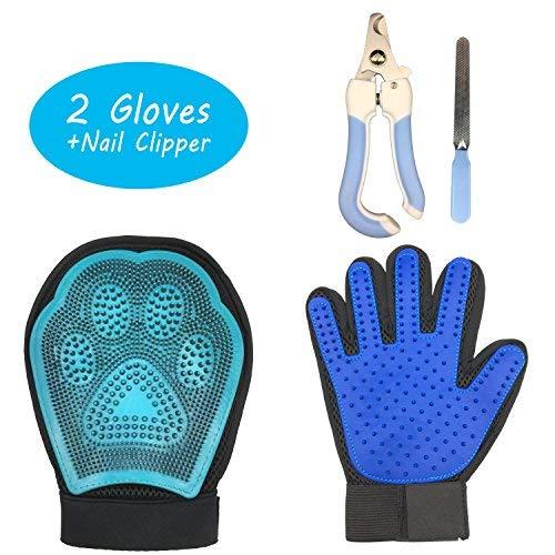 Greaval Fellpflege Handschuhe Pet Massage Handschuh und Pet Nagelknipser Set für Hunde Katzen Pferde, Pet Haarentferner Mitt Handschuhe Hund Pflege Kit (-in) Mitt-set