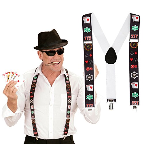 NET TOYS Poker Spieler Hosenträger Casino Hosenhalter Blackjack Suspenders Las Vegas Braces Herren Y-Form Zocker Hosen Träger Karten Spielkarten Kostüm