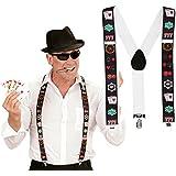 Bretelles de pantalon joueur de poker sangles de pantalon casino élastiques Y Blackjack Porte-pantalon Las Vegas soirée à thème accessoire déguisement cartes à jouer