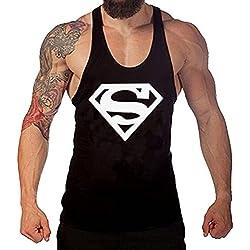 Tank Top Hombre de Tirantes Camiseta Deportiva de Algodón Para Pesas y Gym. Camisas Fitness Sin Mangas. (Logo Superman/Blanco) Negro/Grafito XXL