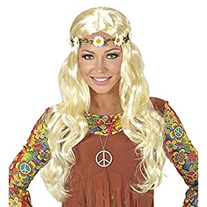 WIDMANN Hippie o Medieval Peluca de Pelo con Flor, en Bolsa, One Size