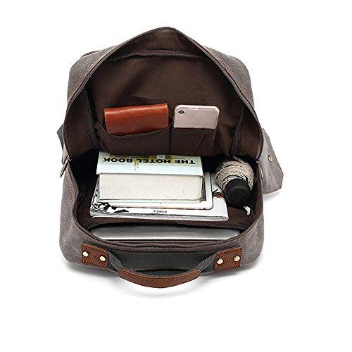 Moda unisex tela zaino borsa da viaggio scuola all' aperto 40,6cm spalle borse nero, Grey, M Brown