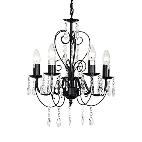 Traditional Black Ornate Vintage Style Shabby Chic 5 Way Ceiling Light Chandelier With Beautiful Acrylic Jewels