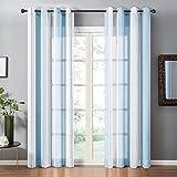 Topfinel Tende Voile Trasparente Occhielli con Strisce Decorativi Finestra Balcone Casa 140x260cm Blu 2 Pezzi