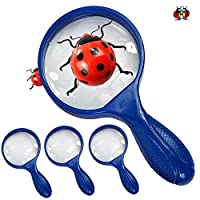 The Ladybirds Company 4 PACK BLUE Kids Jumbo Magnifying Glass - Giant Size - Childrens Giant Magnifying Glasses are Great for Hunting Minibeasts Bugs and Studying Insects 4 PACK by Ladybirds Company