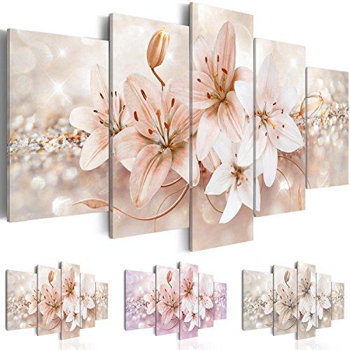 Quadro 200x100 cm - Tre colori da scegliere - 5 Parti - Grande Formato - Quadro su tela fliselina - Stampa in qualita fotografica - fiori b-A-0297-b-o 200x100 cm B&D XXL