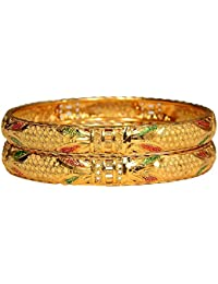 Aabhu Gold Plated Traditional Enamel Style Gold Plated Bangle Kada Set Jewellery For Women And Girl