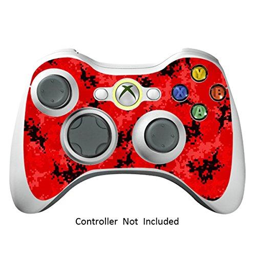 Xbox 360 Controller Designfolie Sticker - Vinyl Aufkleber Schutzfolie Skin für Xbox 360 Controller - Digicamo Red (Minecraft Xbox 360-controller)