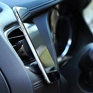 AUKEY Soporte Móvil Coche Magnético Universal ( 2 Pack ) para Rejillas del Aire Soporte Smartphone Coche para iPhone 7 / 6s / 6 / 5s / 5 , Samsung Galaxy Note 8 / S6 / Note 4 , LG G3 y Dispositivo GPS - Gris