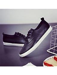 Las Mujeres De Bajo Fondo Plano Superior De Color Sólido Encaje Zapatos De Lona De Ocio Patinar Sobre La Unidad,37,Negro