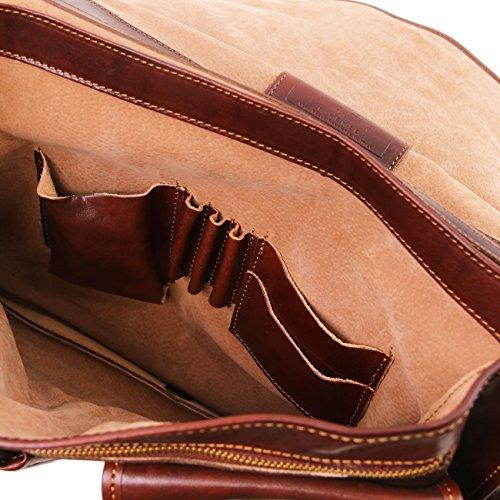 Tuscany Leather Modena - Messenger Tasche aus Leder 2 Fächer - Gross Braun Lederaktentaschen Braun