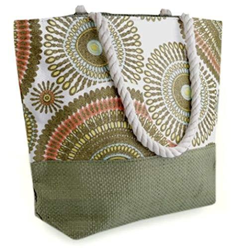 GKA wunderschöne Mandala Shopper Strandtasche Naturtasche Schultertasche geflochten Tasche Handtasche (olive) - Baumwolle Geflochten Olive