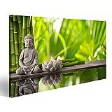 islandburner Tableau Tableaux sur Toile Bouddha Eau Zen Bougie en Bambou Image, Images, Poster, Impression