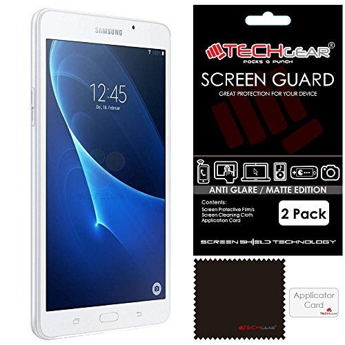 [Pack 2] Techgear® Samsung Galaxy Tab A 7.0Zoll (sm-t280, sm-t285) Displayschutzfolie Blendschutz/Matt-Effekt mit Reinigungstuch und Applikationskarte [Tab A (2016) 7Zoll]