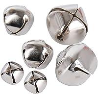 300pcs Cascabeles Dorados para Decoración de Navidad y Manualidades DIY, Plateado (100 unidades 10mm + 100 unidades 15mm + 100 unidades 20mm)