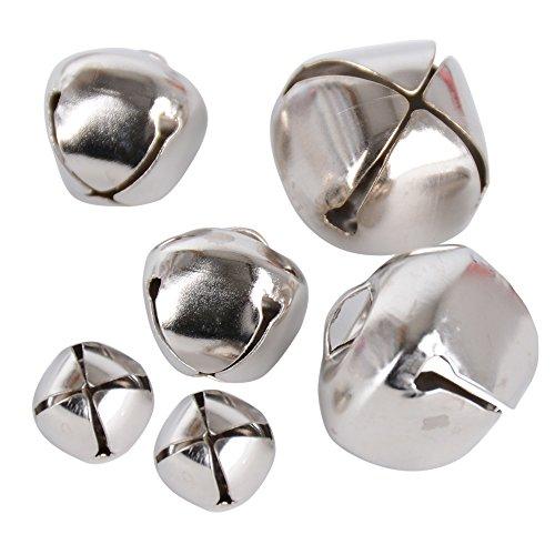 300 Stück 10mm+15mm+20mm Glöckchen Schellen Basteln Anänger kleinen Glocken Schellen Jingle Bells mit Öse aus Metall für Schmuckherstellung Weihnachten Dekoration DIY