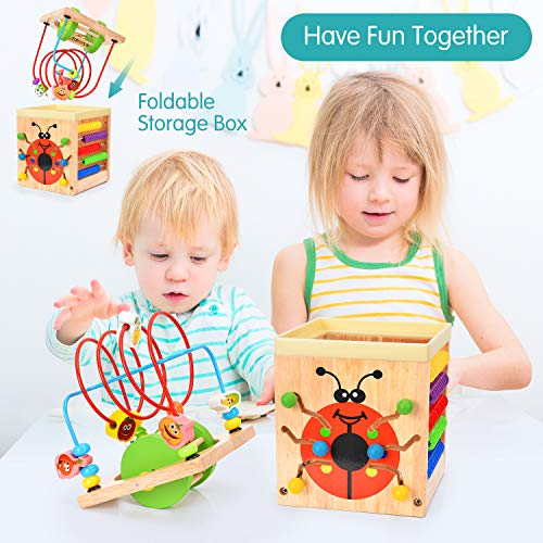 Wesimplelife Wooden Activity Cube 6 in 1 Activity Center Multifunction Bead Maze Toy Roller Coaster Preschool Early Educational Toys Gift for Child Kids Boys Girls