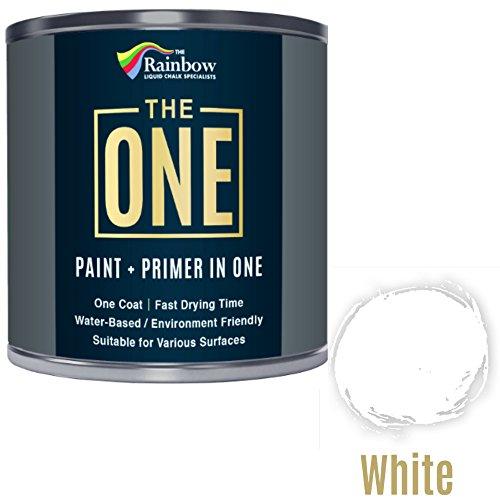 Una pintura, una capa, Multi superficie pintura para madera, metal, plástico, interior, exterior, color blanco, mate, 1litro