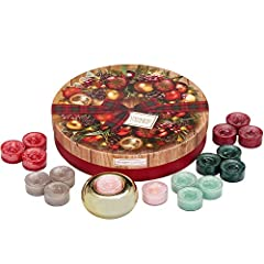 Idea Regalo - Yankee Candle Set Regalo con 18 Tea Light e Portacandela e 1 Supporto in Ceramica Dorata, Confezione Regalo Festiva a Forma di Ghirlanda