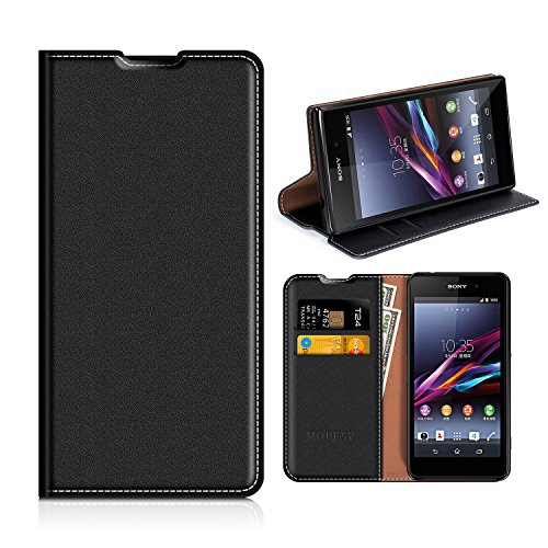 MOBESV Sony Xperia Z1 Compact Hülle Leder, Sony Xperia Z1 Compact Tasche Lederhülle/Wallet Case/Ledertasche Handyhülle/Schutzhülle mit Kartenfach für Sony Xperia Z1 Compact - Schwarz