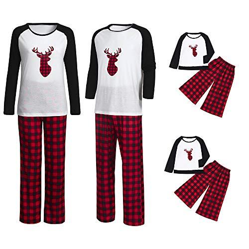 Weihnachten Schlafanzug Familien Outfit Mutter Vater Kind Baby Pajama Casual Langarm Nachtwäsche Print Sleepwear Casual Cartoon Langarmshirt Oberteile Top Kariert Hose Set von ()