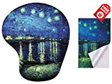 Van Gogh Starry Night Over The Rhône Ergonomic Design Mouse Pad with Wrist Support. Gel Hand Rest. Matching Microfiber Cleaning Cloth for Glasses & Electronics. Mouse Pad for Laptop, PC Computer & Mac