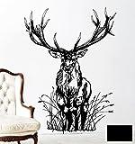 Wandtattoo Wandaufkleber Hirsch Wild Rehbock Waldtier REH M1713 - ausgewählte Farbe: *Schwarz* - ausgewählte Größe: *M - 60cm breit x 80cm hoch*