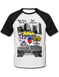 teesquare1st Venezuela Caracas Camiseta DE Mangas Negra Cortas T-Shirt