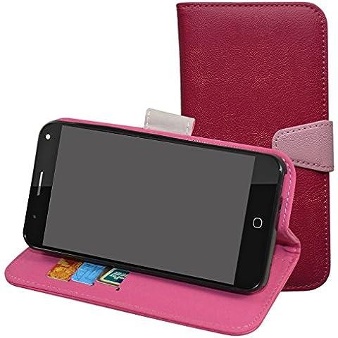Alcatel Pop 4 Funda,Mama Mouth PU Cuero Billetera Cartera Monedero Con Soporte Funda Caso Case para Alcatel One Touch Pop 4 5.0 inches Smartphone,Magenta