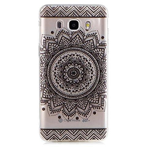KSHOP Etui cas TPU silicone pour Samsung Galaxy J5(2016)J510 Coque Case Cover Housse de protection Shell avec mince motif imprimé - Saint Indian Flower Mandala Noir - Nero Gioielli Silicone