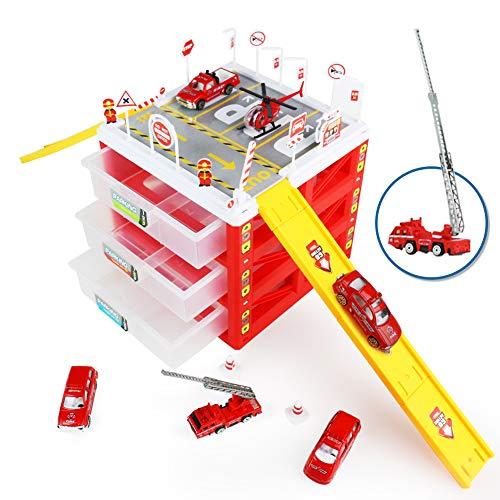 Nuheby Parkgarage Kinder Parkhaus Spielzeug Garage mit Feuerwehrauto,Aufbewahrungsbox,Hubschrauber Set Kleinkinderspielzeug ab 3 4 5 6 Jahre Junge Mädchen