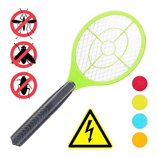 Relaxdays elektrische Fliegenklatsche, ohne chemische Stoffe, gegen Fliegen, Mücken & Moskitos, Fly Swatter, hellgrün -