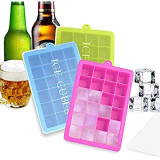 BSET BUY 3 Stück Eiswürfelform Silikon Eiswürfel Form Eiswürfelbehälter Eiswürfelbereiter mit Deckel Ice Tray Ice Cube 24 Fächer, Kühl Aufbewahren BPA frei ...