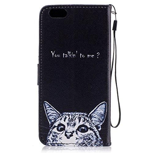 iPhone 6 Plus Hülle, iPhone 6S Plus Hülle, iPhone 6 Plus/ 6S Plus Lederhülle, iPhone 6 Plus / iPhone 6S Plus Brieftasche, BONROY Tier Muster Niedlich Komisch Ledertasche Handyhülle Kunstleder Tasche W Neugierige Katzen
